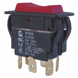 Power First - 29FG42 - Rocker Switch, Contact Form: DPDT, Number of Connections: 6, Terminals: 0.250 Quick Connect Tab