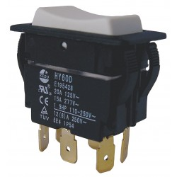 Power First - 29FG44 - Rocker Switch, Contact Form: DPDT, Number of Connections: 6, Terminals: 0.250 Quick Connect Tab