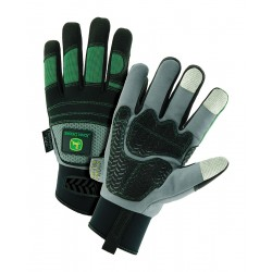 John Deere - JD96650/L - Cold Protection Gloves, 100% Polyester Lining, Neoprene with Hook-and-Loop Cuff, Green/Black/Gray, L