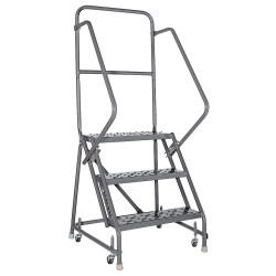 Louisville Ladder - GSW2403-W03 - 3-Step Rolling Ladder, Perforated Step Tread, 66 Overall Height, 450 lb. Load Capacity