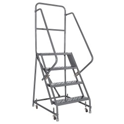 "Louisville Ladder - GSW2404-W03 - 4-Step Rolling Ladder, Perforated Step Tread, 76"" Overall Height, 450 lb. Load Capacity"
