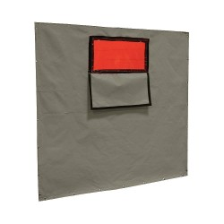 Steiner Industries - 301-338F-6X8 - Cotton Duck Welding Curtain with Window, 8 ft. High x 0.025 Wide x 6 ft. Thick, Olive