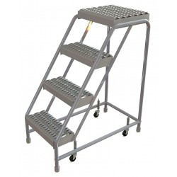 Tri Arc - WLAR004165 - 4-Step Rolling Ladder, Serrated Step Tread, 40 Overall Height, 350 lb. Load Capacity