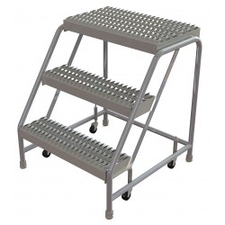 Tri Arc - WLAR003245 - Aluminum Rolling Step, 30 Overall Height, 350 lb. Load Capacity, Number of Steps: 3