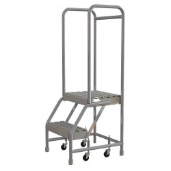 Tri Arc - WLAR102165 - 2-Step Rolling Ladder, Serrated Step Tread, 52 Overall Height, 350 lb. Load Capacity