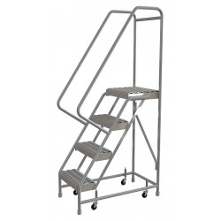 Tri Arc - WLAR104165 - 4-Step Rolling Ladder, Serrated Step Tread, 72 Overall Height, 350 lb. Load Capacity
