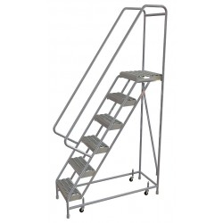 Tri Arc - WLAR106165 - 6-Step Rolling Ladder, Serrated Step Tread, 92 Overall Height, 350 lb. Load Capacity