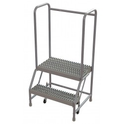 Tri Arc - WLAR102245 - 2-Step Rolling Ladder, Serrated Step Tread, 52 Overall Height, 350 lb. Load Capacity