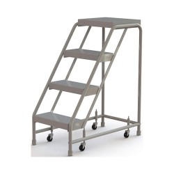 Tri Arc - WLAR004164 - 4-Step Rolling Ladder, Ribbed Step Tread, 40 Overall Height, 350 lb. Load Capacity