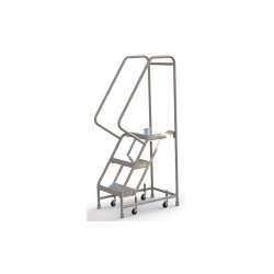 Tri Arc - WLAR103164 - 3-Step Rolling Ladder, Ribbed Step Tread, 62 Overall Height, 350 lb. Load Capacity