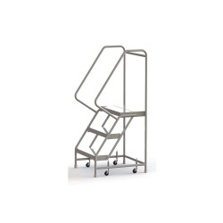 Tri Arc - WLAR103244 - 3-Step Rolling Ladder, Ribbed Step Tread, 62 Overall Height, 350 lb. Load Capacity