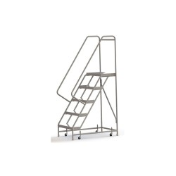 Tri Arc - WLAR105244 - 5-Step Rolling Ladder, Ribbed Step Tread, 82 Overall Height, 350 lb. Load Capacity
