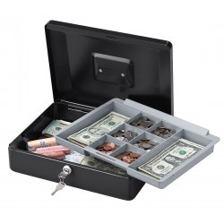 SentrySafe - CB-12 - Cash Box, Steel, Key Lock, Black