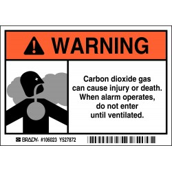 Brady - 106023 - Brady 3 1/2 X 5 Black/gray/orange/white Polyester Label Carbon Dioxide Gas Can Cause Injury Or Death. When Alarm Operates, Do Not Enter Until Ventilated., ( Each )