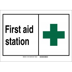 Brady - 120021 - First Aid, No Header, Polyester, 5 x 7, Adhesive Surface, Not Retroreflective