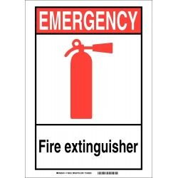 Brady - 119232 - Fire Equipment, Emergency, Polyester, 10 x 14, Adhesive Surface, Not Retroreflective