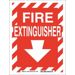 Brady - 85260 - Brady 14 X 10 X .006 White On Red .01 B-302 Polyester Safety Sign FIRE EXTINGUISHER, ( Each )