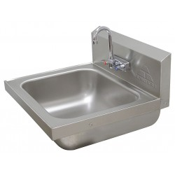 Advance Tabco - 7-PS-49 - Stainless Steel Wall Bathroom Sink With Faucet, 14 x 16 x 8 Bowl Size