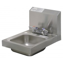 Advance Tabco - 7-PS-22 - Stainless Steel Wall Bathroom Sink With Faucet, 9 x 9 x 5 Bowl Size