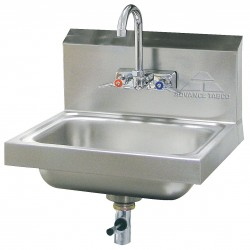Advance Tabco - 7-PS-67 - Stainless Steel Wall Bathroom Sink With Faucet, 10 x 14 Bowl Size