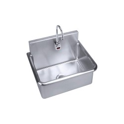 Just Manufacturing - A-18664-S - Stainless Steel Bathroom Sink, With Faucet, Wall Mounting Type, Stainless Steel