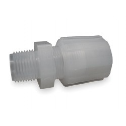 Parker Hannifin - GAMS-66 - Parker Hannifin PFA compression threaded adapter, 3/8 tubing OD x 3/8 male NPT