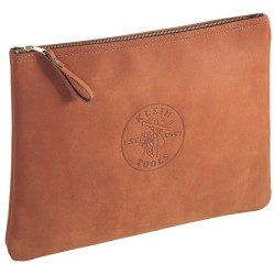 Klein Tools - 5136 - Klein 5136 Zipper Portfolio Bag, Brown Leather