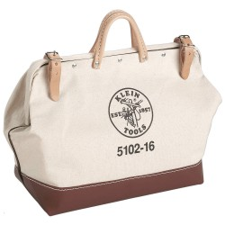 "Klein Tools - 5102-14 - 1-Pocket Canvas General Purpose Wide-Mouth Tool Bag, 14""H x 14""W x 6""D, White"