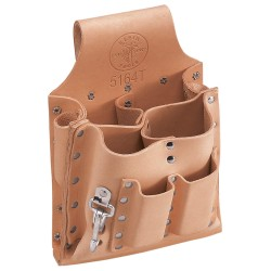 "Klein Tools - 5164T - Klein Tools 6 3/4'' X 9 3/4"" Leather 8 Pocket Tunnel Loop Tool Pouch With And Knife Snap"