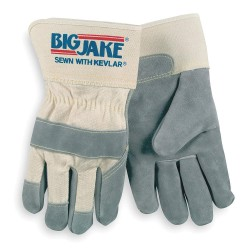"""Memphis Glove - 1702XL - Memphis Glove X-Large Gray Big Jake Gunn Premium Grade Split Cowhide Cut Resistant Gloves With 2 3/4"""" Rubberized Safety Cuff, Non-Woven Kevlar Lining, Cotton Canvas Back And Wing Thumb (75 Pair Per Case)"""