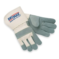 Memphis Glove - 1710M - Cowhide Leather Palm Gloves with Gauntlet Cuff, Gray, M