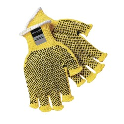 Memphis Glove - 9369L - Memphis Glove Large Brown And Yellow Dotted Honeycomb Dotted Fingerless Style 7 gauge Regular Weight Kevlar Fiber High Performance Cut Resistant Gloves With Knit Wrist And PVC Dots On Two Sides Coating