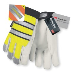 Memphis Glove - 968L - Leather Gloves, Grain Goatskin Palm Material, Hi-Visibility Yellow, L, PR 1