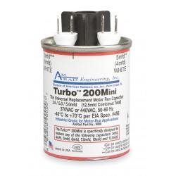 AmRad Engineering - TURBO 200 MINI - Round Motor Run Capacitor, 2.5-15 Microfarad Rating, 370-440VAC Voltage