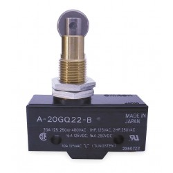 Omron - A-20GQ22-B - 20A @ 480V Panel Mount, Plunger, Roller Industrial Snap Action Switch; Series A