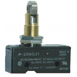 Omron - A-20GQ21 - 20A @ 480V Cross Roller, Panel Mount, Plunger Industrial Snap Action Switch; Series A