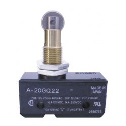 Omron - A-20GQ22 - 20A @ 480V Panel Mount, Plunger, Roller Industrial Snap Action Switch; Series A