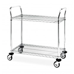 Metro (InterMetro) / Emerson - 1854-39 - 54L x 18W x 39H Chrome Steel Wire Cart, 600 lb. Load Capacity