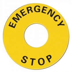 Omron Scientific Technologies - 11003-0053 - 22mm Round Emergency Stop Legend Plate, Plastic, Black/Yellow