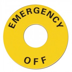 Omron Scientific Technologies - 11003-0154 - 22mm Round Emergency Off Legend Plate, Plastic, Black/Yellow