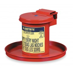 Justrite - 09400 - Justrite 0.45 Gallon Red Galvanized Steel Portable Benchtop Solvent Can (For Flammables), ( Each )