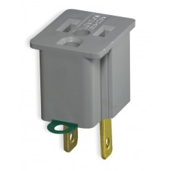 Leviton - 274 - Leviton 274 Two-to-Three Grounding Outlet Adapter, 15 Amp, Gray