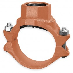 Anvil Fittings - 0390171700 - 8 x 2 Nominal Size Ductile Iron Clamp with FNPT Branch