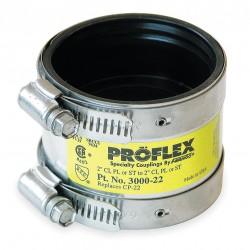 Fernco - 3000-22 - 300 Stainless Steel, Neoprene Shielded Transition Coupling, For Pipe Size 2, 2-21/64 Inside Dia.