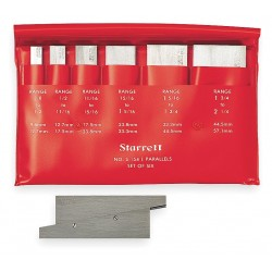 L.S. Starrett - S154LZ - Precision Adjustable Parallels, Number of Pairs: 6, Measuring Range (In.): 3/8 to 2-1/4