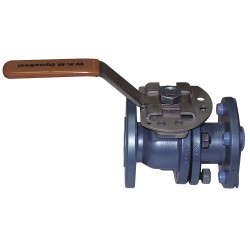 Cameron - 11/2-F-B128-CS-42-CS-WR - Carbon Steel Flanged x Flanged Ball Valve, Locking Lever, 1-1/2 Pipe Size
