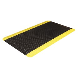 Crown Mats / Ludlow Composites - D0023YB - Static Dissipative Mat, Black with Yellow Border, Vinyl, 3 ft. x 2 ft., 1 EA