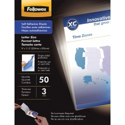 Fellowes - 5221502 - Fellowes Self Adhesive Laminating Sheets - 50-pack - glossy - 9.5 in x 12 in lamination film