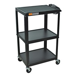 AmpliVox - SN3365 - AmpliVox SN3365 - Industrial Metal Cart - 4 Casters - 4 Caster Size - 24 Width x 18 Depth x 44 Height - Metal Frame - Black