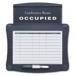 Quartet (Acco) - 995 - Gloss-Finish Melamine Conference Room Scheduler, Wall Mounted, 15-1/2H x 14-1/2W, White